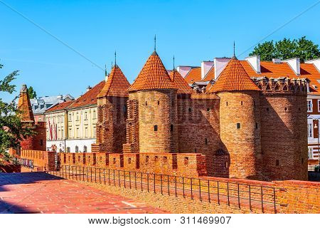 Warsaw, Poland Barbican Or Barbakan, Outpost With The Defense Walls And Fortifications Of The Histor