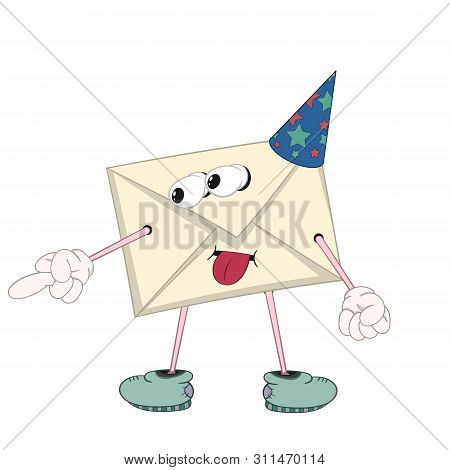 A Funny Cartoon Yellow Letter In A Festive Cap With Eyes, Arms, Legs And Mouth Is Teased And Shows A