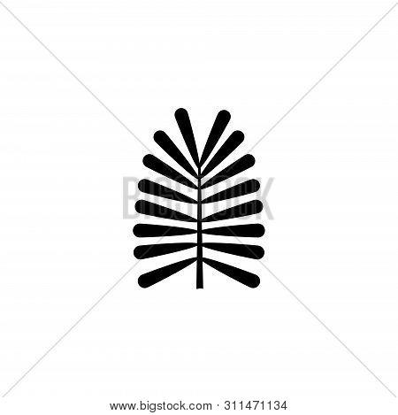 Tropical Plant, Fern Leaf, Branch. Flat Vector Icon Illustration. Simple Black Symbol On White Backg