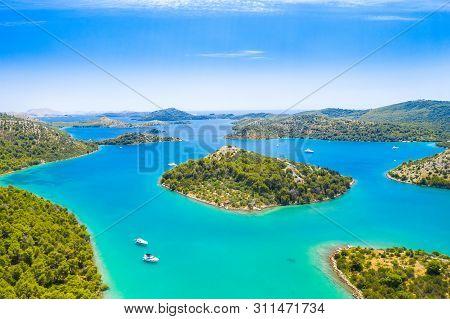Beautiful Blue Sea, Small Islands Archipelago In Nature Park Telascica On The Island Of Dugi Otok In