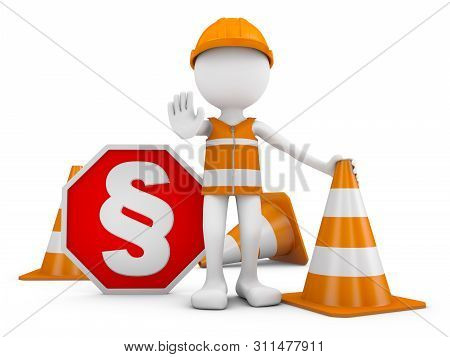 A Man In A Helmet Next To A Road Sign With A Paragraph. 3d Render