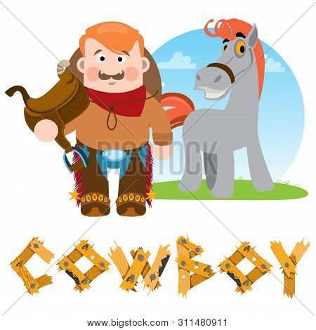 Man And Horse. Cowboy. Rodeo Wild West Illustration