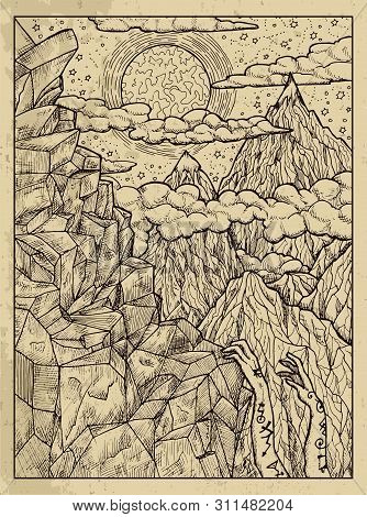 Mountain. Mystic Concept For Lenormand Oracle Tarot Card. Vector Engraved Illustration. Fantasy Line