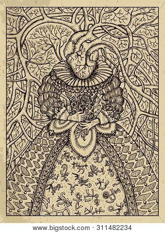 Heart. Mystic Concept For Lenormand Oracle Tarot Card. Vector Engraved Illustration. Fantasy Line Ar
