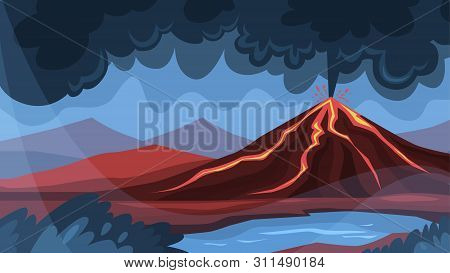 Volcano Eruption Concept. Lava Explosion On The Ground