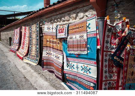Traditional Georgian Carpet Hanging On Sale, Carpets With Geometric Patterns Of Georgia.