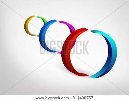 Abstract 3d Logo Of Letter O Or Numeral 0 Or Doubly Symmetric Letter C. Colorful Collection Of Three