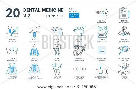 Dental Prosthesis Icon Set In Flat Outline Style
