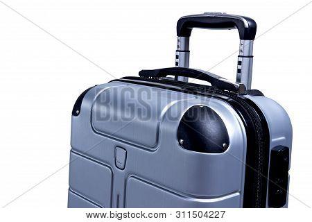 Hand Luggage Suitcase Isolated On White Background. Travel Bag