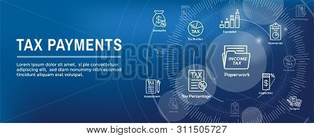 Tax Concept W Percentage Paid, Icon And Income Idea. Flat Vector Outline Illustration Web Header Ban