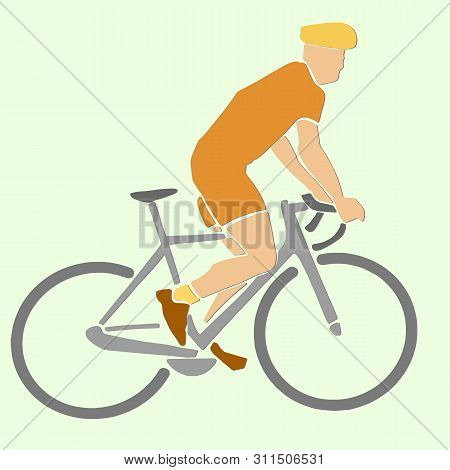 Single Male Bicyclist On Bicycle. Vector Sport Illustration. Applique Or Paper Cut Style.