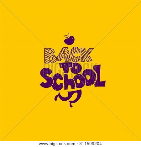 Back To School Logo With Apple Symbol And Running Legs. Vector Hand Drawn Doodle Illustration. Hand