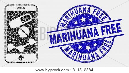 Pixel Mobile Pharmacy Chart Mosaic Pictogram And Marihuana Free Seal Stamp. Blue Vector Rounded Grun