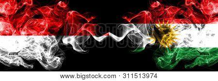 Indonesia Vs Kurdistan, Kurdish Smoky Mystic Flags Placed Side By Side. Thick Colored Silky Smoke Fl