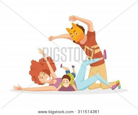 Cheerful Young Family With Kids Laughing And Have A Fun Together, Parents With Children Enjoying Pla