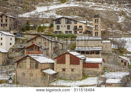 Cityscacpe In Pal In Winter, La Massana, Andorra.