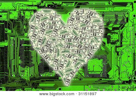 an image of heart shape with dollar bill on circuitboard
