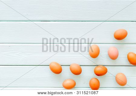 Blog Pattern With Eggs On Mint Green Wooden Background Top View Copyspace