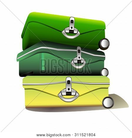 Vector Realistic Illustration Of Yellow And Green Suitcases On A White Background. Attributes Of The