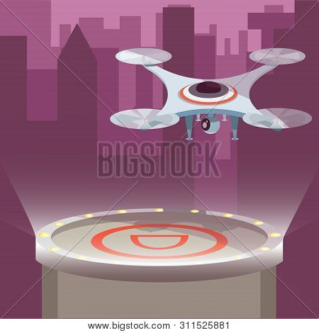 Business Drone With Action Camera Created Video And Photo. Photography-copter, Quadcopter, Multicopt