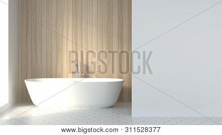 Minimalist Clean Bathroom Background Image Decor 3d Rendering, Scandinavian Design Style Free Space