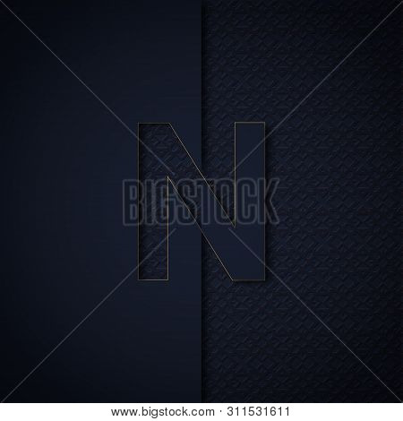 Silhouette Initial Letter N Isolated On Black Textured Background. Letter Logo Or Emblem In Paper Cu