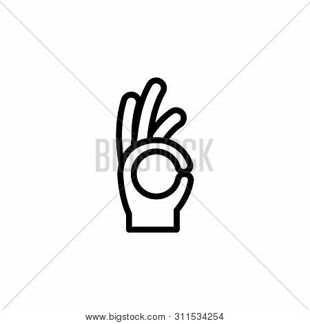 Hand All Right Ok Sign Gesture Outline Icon. Element Of Hand Gesture Illustration Icon. Signs, Symbo