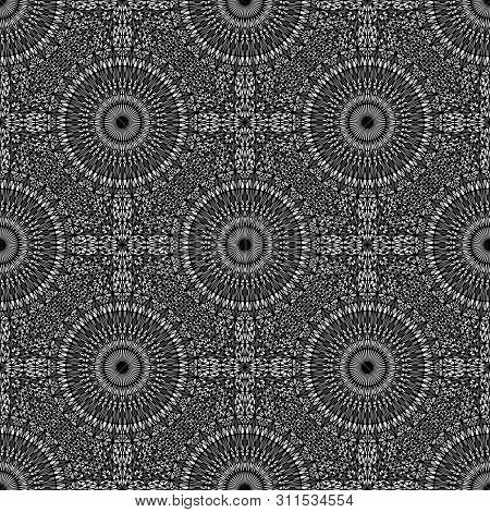 Geometrical Black And White Oriental Kaleidoscope Mandala Pattern Art - Elegant Spiritual Grey Flora