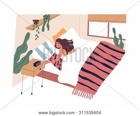 Young Woman Waking Up In Morning. Female Character Lying In Bed And Turning Off Alarm Clock. Start O