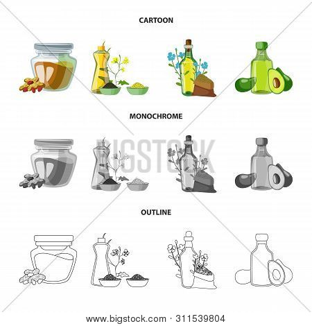 Vector Illustration Of Healthy And Vegetable Symbol. Set Of Healthy And Agriculture Stock Vector Ill
