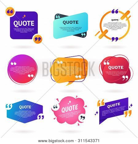 Collection Of Abstract Colorful Quote Text Boxes With Quotes Symbols. Geometric Banner Template In D
