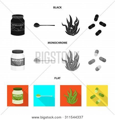Vector Design Of Protein And Sea Logo. Collection Of Protein And Natural Stock Vector Illustration.