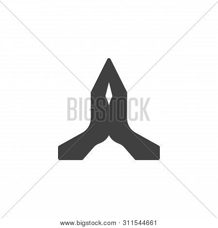 Two Hands Pray Gesture Vector Icon. Filled Flat Sign For Mobile Concept And Web Design. Praying Hand