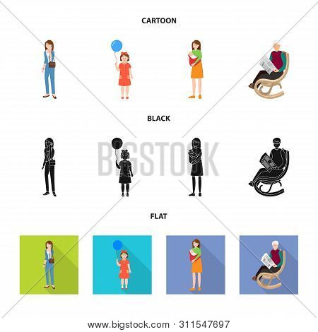 Vector Design Of Character And Avatar Symbol. Collection Of Character And Portrait Stock Symbol For