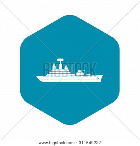 Warship Icon. Simple Illustration Of Warship Vector Icon For Web