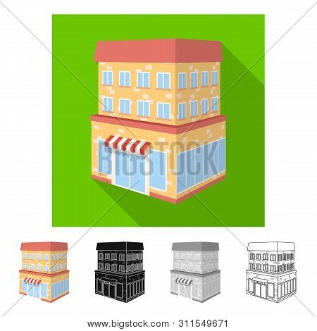 Isolated Object Of Shop And Cafe Sign. Set Of Shop And Bakery Stock Vector Illustration.