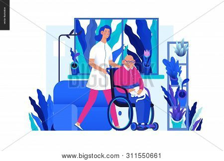 Medical Insurance - Senior Home Support - Modern Flat Vector Concept Digital Illustration -a Nurse R