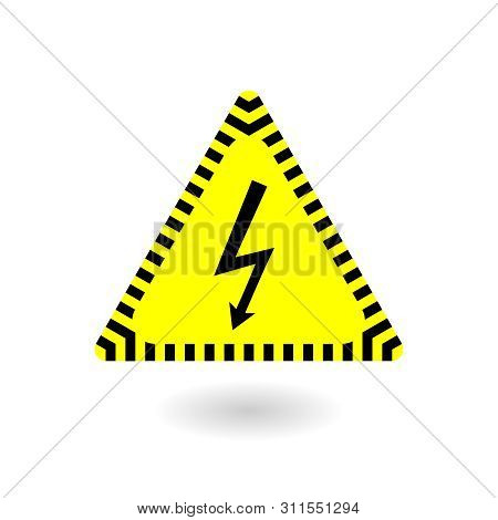 Electricity Icon. Electric Power Symbol In Yellow Triangle