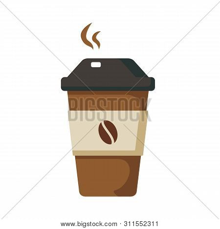 Coffee Cup With Hot Coffee In Flat Style. Coffee Cup Isolated On White Background. Disposable Coffee