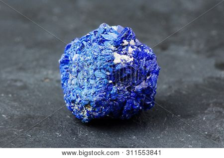 Azurite. Mineral Stone On A Dark Background