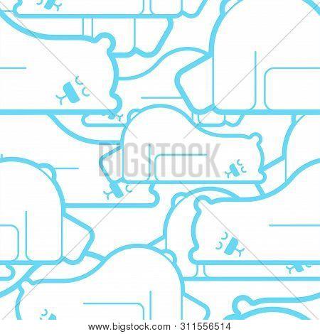 Polar Bear Asleep Pattern Seamless. Beast Is Sleeping Background . Vector Texture