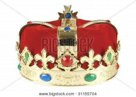 Kings crown on white background with clipping path