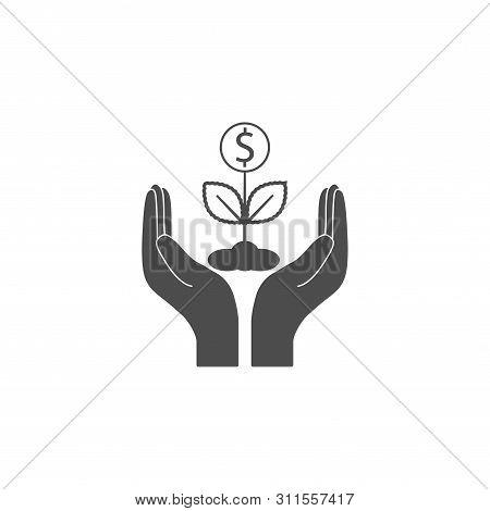 Plant, Hand Dollar Icon. Vector Illustration, Flat Design.