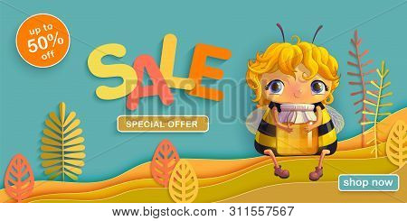 Summer Sale Autumn Discounts. Funny Bee With A Jar Of Honey Sitting In A Meadow On The Background Of