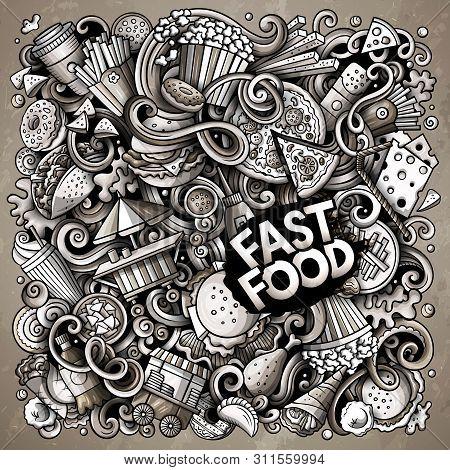 Fastfood Hand Drawn Vector Doodles Illustration. Fast Food Poster Design.
