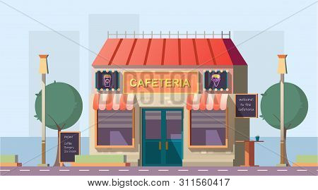 Roadside Cafeteria Or Road Cafe Building With Menu Banner, Neon Glowing Signboards And Outdoor Table