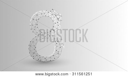 Number Eight 2d Low Poly Abstract Illustration Consisting Of Points, Lines, And Shapes In The Form O