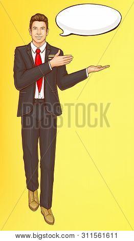 Pop Art Steward, Flight Attendant, Air Hostess Man In Strict Black Suit, White Shirt, Red Tie And Sp