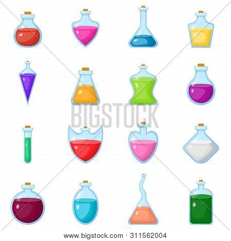 Set Of Magic Potion Isolated On White Background. Magical Potion In Bottle. Chemical Or Alchemy Elix