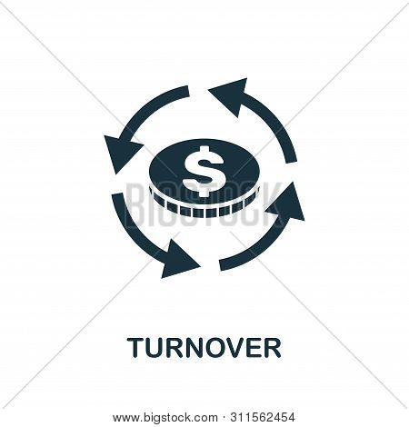 Turnover Icon Symbol. Creative Sign From Business Management Icons Collection. Filled Flat Turnover